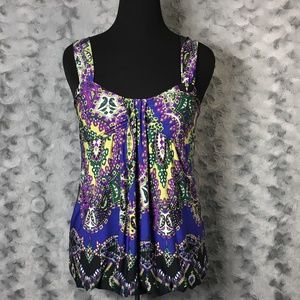 Moa Moa Purple Black Green Print Sleeveless Top